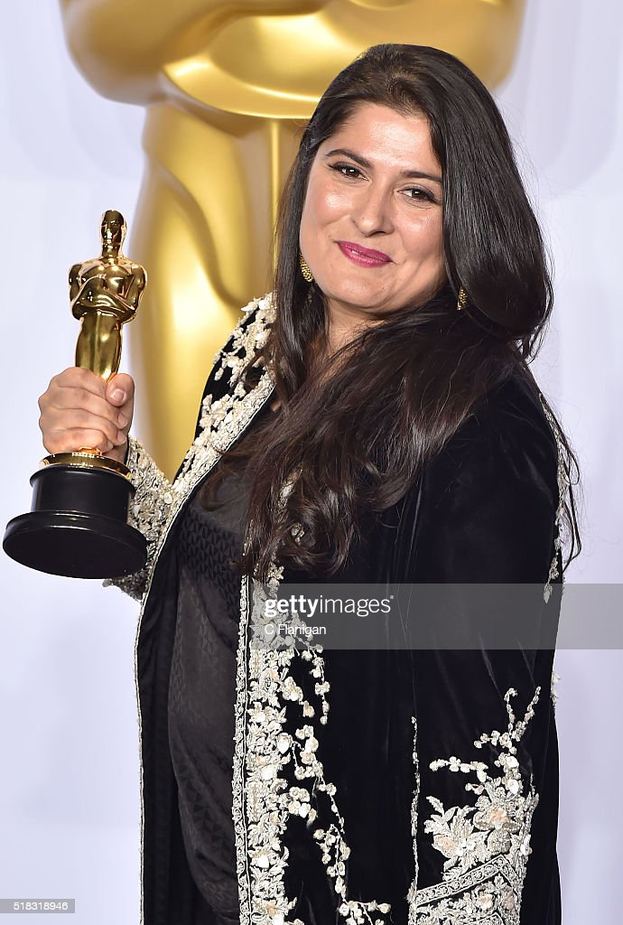Filmmaker Sharmeen Obaid-Chinoy, winner of the Best Documentary Short Subject award for 'A Girl in the River: The Price of Forgiveness,' poses in the press room during the 88th Annual Academy Awards at Loews Hollywood Hotel on February 28, 2016 in Hollywood, California.
