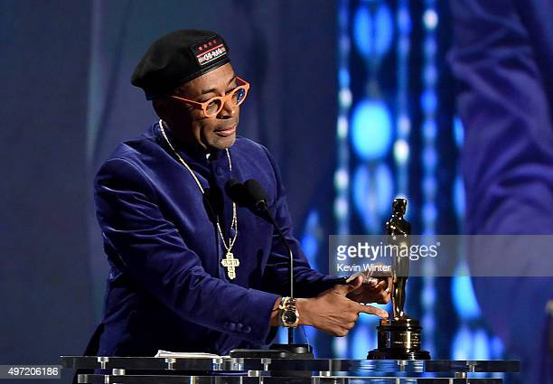 Filmmaker Spike Lee accepts an award onstage during the Academy of Motion Picture Arts and Sciences' 7th annual Governors Awards at The Ray Dolby...