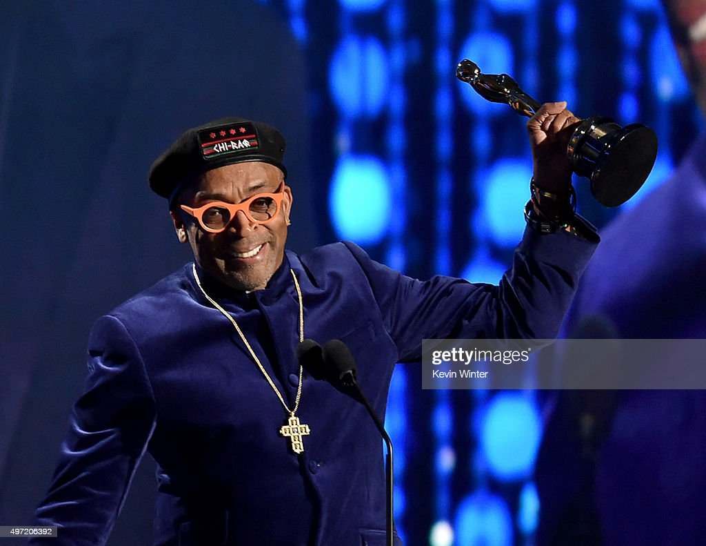 Filmmaker <a gi-track='captionPersonalityLinkClicked' href=/galleries/search?phrase=Spike+Lee&family=editorial&specificpeople=156419 ng-click='$event.stopPropagation()'>Spike Lee</a> accepts an award onstage during the Academy of Motion Picture Arts and Sciences' 7th annual Governors Awards at The Ray Dolby Ballroom at Hollywood & Highland Center on November 14, 2015 in Hollywood, California.