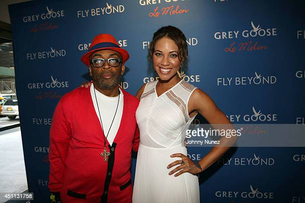 Filmmaker Spike Lee and actress Lauren Macklin attend Spike Lee's 'Da Sweet Blood Of Jesus' cast and crew special screening at DGA Theater on June 23...