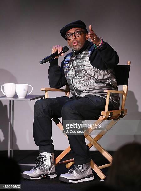 Filmmaker Spike Lee speaks during the Apple Store Soho Presents Meet The Filmmaker Spike Lee And Zaraah Abrahams 'Da Sweet Blood of Jesus' at Apple...