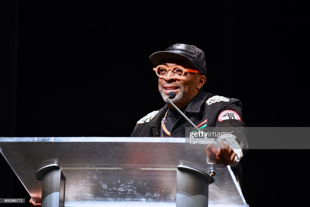 Filmmaker Spike Lee speaks onstage after receiving the Lifetime Achievement Award at the 21st Annual Celebration Of Leadership In The Fine Arts at Sidney Hary Hall on September 20, 2017 in Washington, DC.