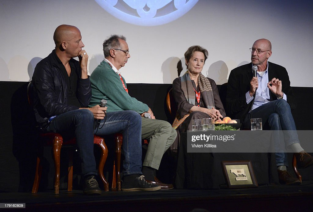 Filmmaker Stefano Sardo, Dieter Kosslick of the Berlin Film Festival, chef Alice Waters and writer Michael Pollan speak at a seminar on food at the 2013 Telluride Film Festival - Day 3 on August 31, 2013 in Telluride, Colorado.