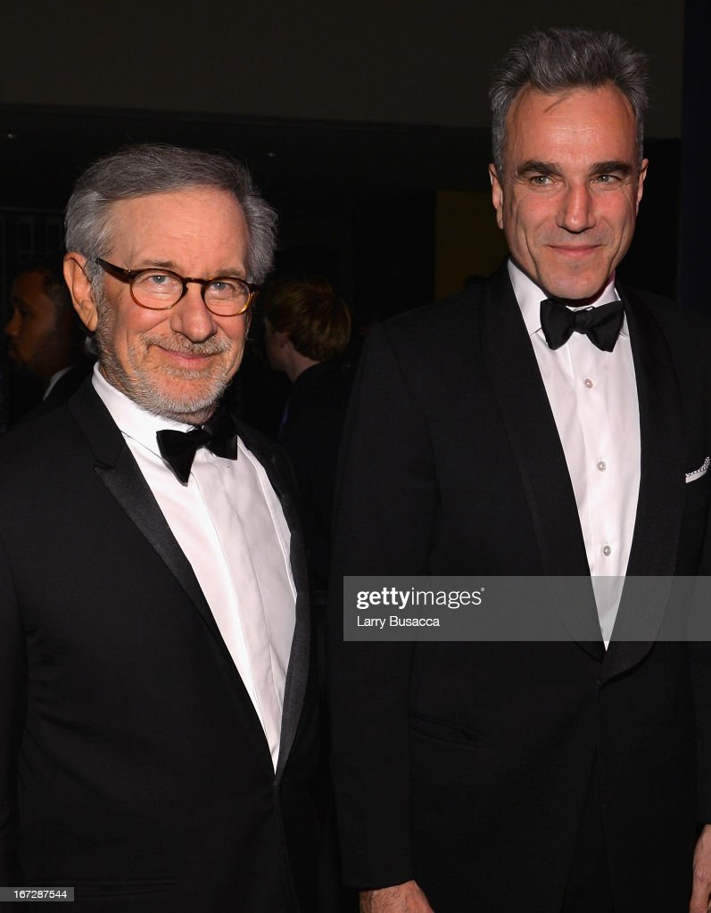 Filmmaker <a gi-track='captionPersonalityLinkClicked' href=/galleries/search?phrase=Steven+Spielberg&family=editorial&specificpeople=202022 ng-click='$event.stopPropagation()'>Steven Spielberg</a> (L) and actor <a gi-track='captionPersonalityLinkClicked' href=/galleries/search?phrase=Daniel+Day-Lewis&family=editorial&specificpeople=211475 ng-click='$event.stopPropagation()'>Daniel Day-Lewis</a> attend the TIME 100 Gala, TIME'S 100 Most Influential People In The World reception at Jazz at Lincoln Center on April 23, 2013 in New York City.