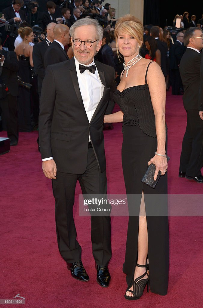 Filmmaker Steven Spielberg and Kate Capshaw arrive at the Oscars at Hollywood Highland Center on February 24 2013 in Hollywood California