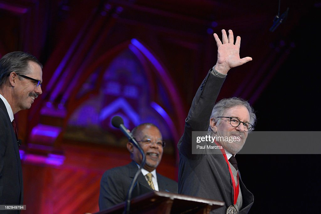 Filmmaker <a gi-track='captionPersonalityLinkClicked' href=/galleries/search?phrase=Steven+Spielberg&family=editorial&specificpeople=202022 ng-click='$event.stopPropagation()'>Steven Spielberg</a> receives the 2013 W.E.B. Du Bois Medal at a ceremony at Harvard University's Sanders Theatre on October 2, 2013 in Cambridge, Massachusetts.