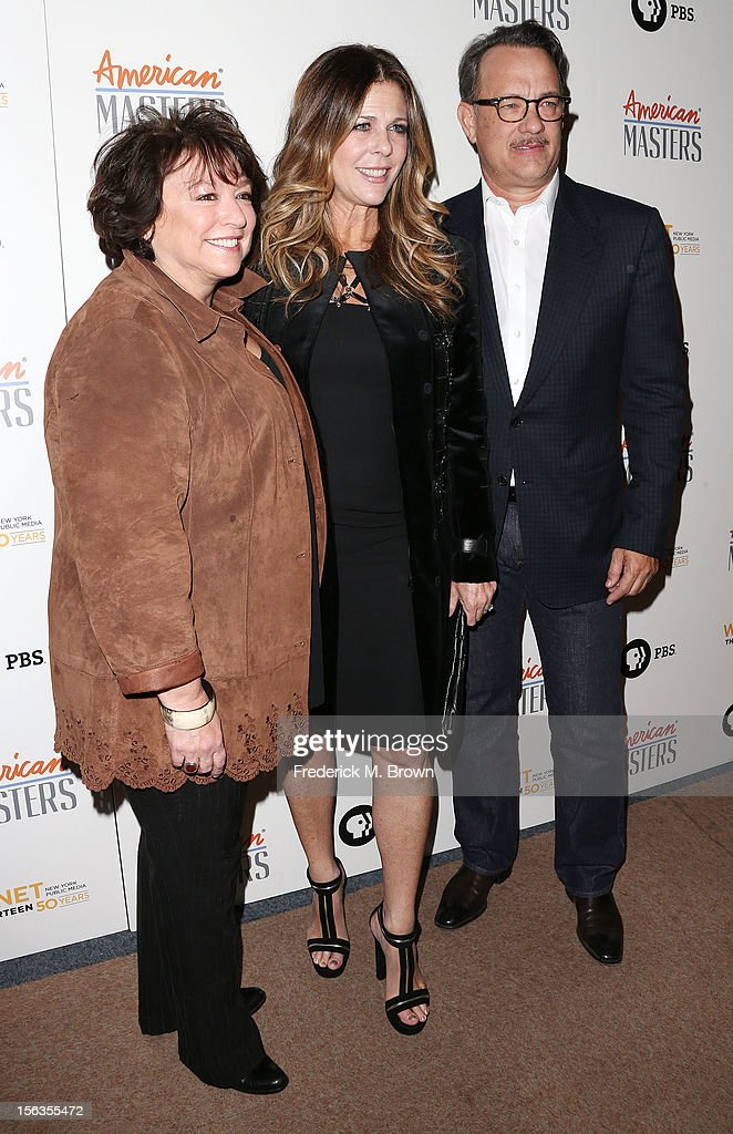 Filmmaker Susan Lacy, producer Rita Wilson and actor Tom Hanks attend the Premiere Of 'American Masters Inventing David Geffen' at The Writers Guild of America on November 13, 2012 in Beverly Hills, California.