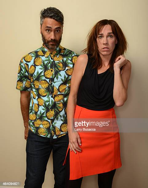 Filmmaker Taika Waititi and actress Jackie van Beek pose for a portrait during the 2014 Sundance Film Festival at the WireImage Portrait Studio at...