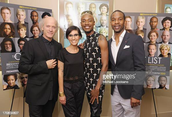 Filmmaker Timothy GreenfieldSanders and film subjects Wazina Zundon Twiggy Pucci Garcon and Wade Davis attend the HBO Premiere of 'The Out List' at...