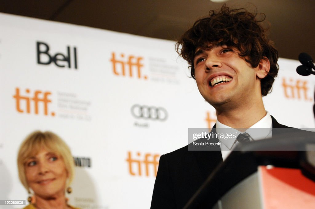 Filmmaker <a gi-track='captionPersonalityLinkClicked' href=/galleries/search?phrase=Xavier+Dolan&family=editorial&specificpeople=5948820 ng-click='$event.stopPropagation()'>Xavier Dolan</a>, winner of the The City of Toronto + Canada Goose Award for Best Canadian Feature Film for 'Laurence Anyways', speaks at the at the 37th Toronto International Film Festival Award Winner Ceremony held at the InterContinental Toronto Center Hotel on September 16, 2012 in Toronto, Canada.