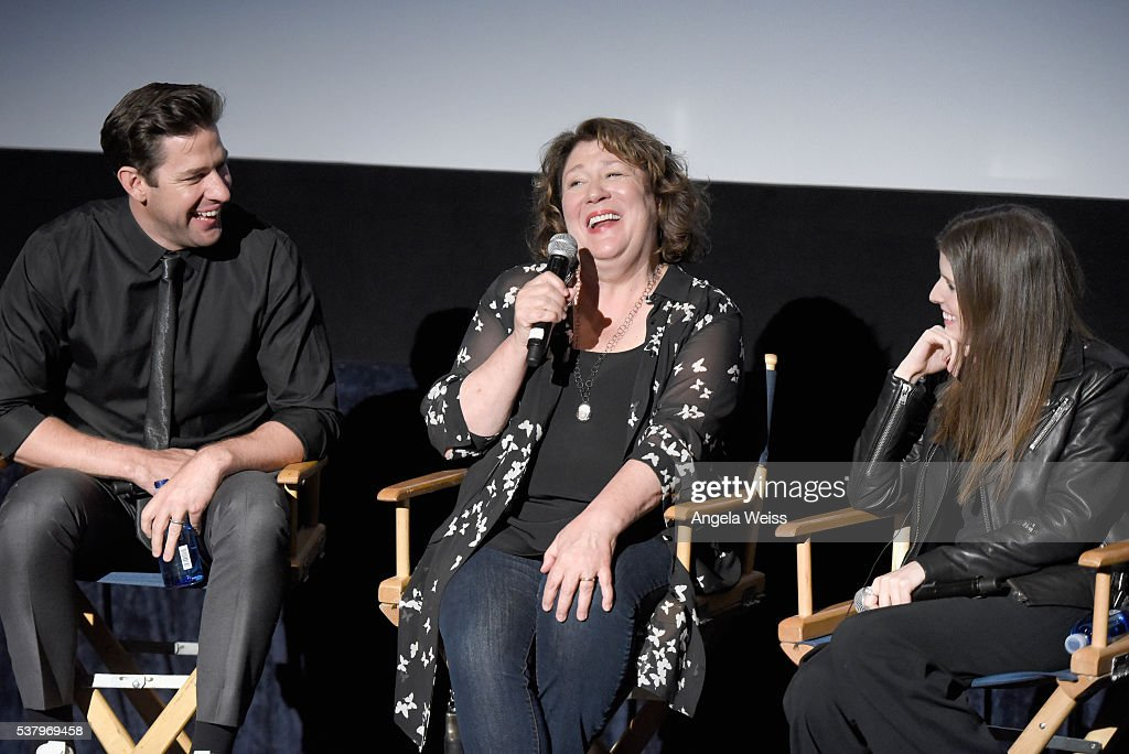 Filmmaker/actor John Krasinski actresses Margo Martindale and Anna Kendrick speak onstage during the premiere of 'The Hollars' at the 2016 Los...