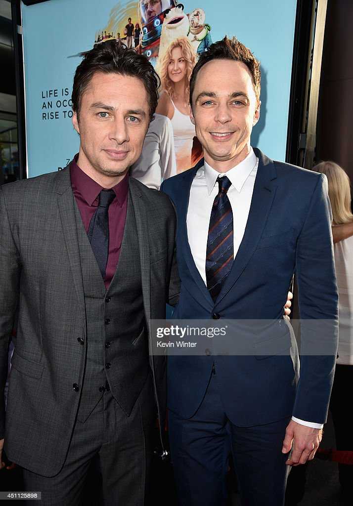 Filmmaker/actor <a gi-track='captionPersonalityLinkClicked' href=/galleries/search?phrase=Zach+Braff&family=editorial&specificpeople=203253 ng-click='$event.stopPropagation()'>Zach Braff</a> and actor <a gi-track='captionPersonalityLinkClicked' href=/galleries/search?phrase=Jim+Parsons&family=editorial&specificpeople=2480791 ng-click='$event.stopPropagation()'>Jim Parsons</a> attend Focus Features' 'Wish I Was Here' premiere at DGA Theater on June 23, 2014 in Los Angeles, California.