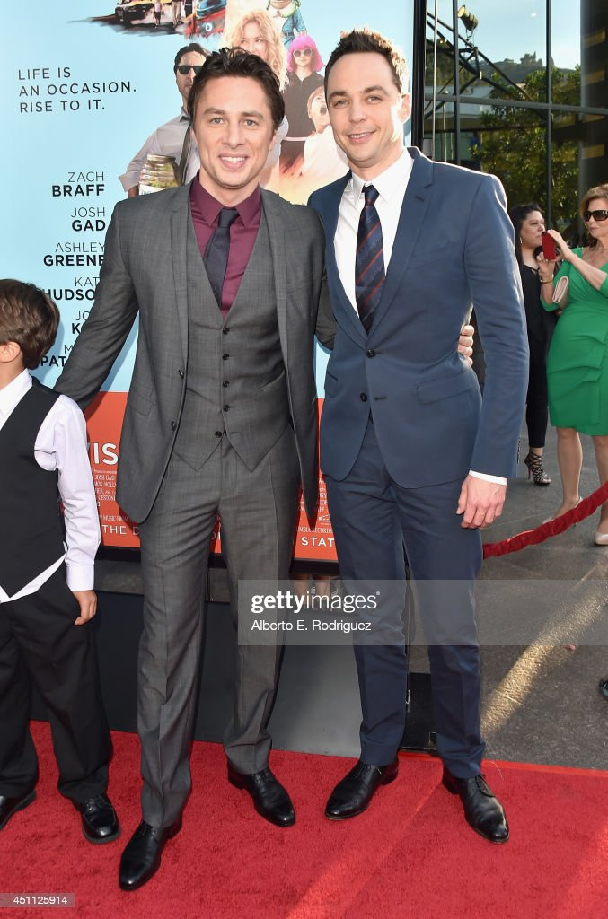 Filmmaker/actor <a gi-track='captionPersonalityLinkClicked' href=/galleries/search?phrase=Zach+Braff&family=editorial&specificpeople=203253 ng-click='$event.stopPropagation()'>Zach Braff</a> and <a gi-track='captionPersonalityLinkClicked' href=/galleries/search?phrase=Jim+Parsons&family=editorial&specificpeople=2480791 ng-click='$event.stopPropagation()'>Jim Parsons</a> attend the premiere of Focus Features' 'Wish I Was Here' at DGA Theater on June 23, 2014 in Los Angeles, California.