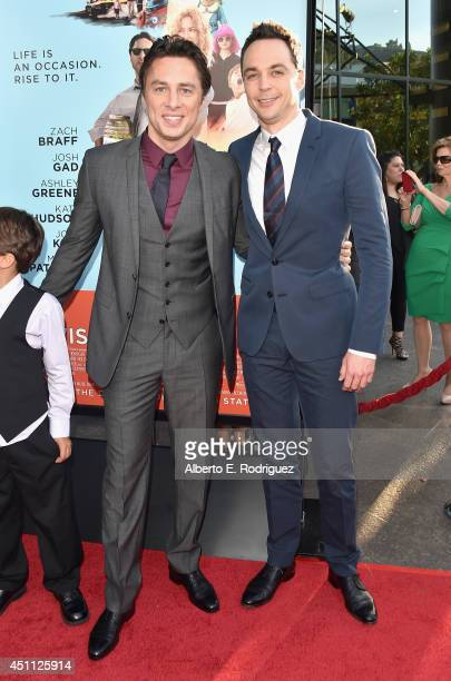Filmmaker/actor Zach Braff and Jim Parsons attend the premiere of Focus Features' 'Wish I Was Here' at DGA Theater on June 23 2014 in Los Angeles...