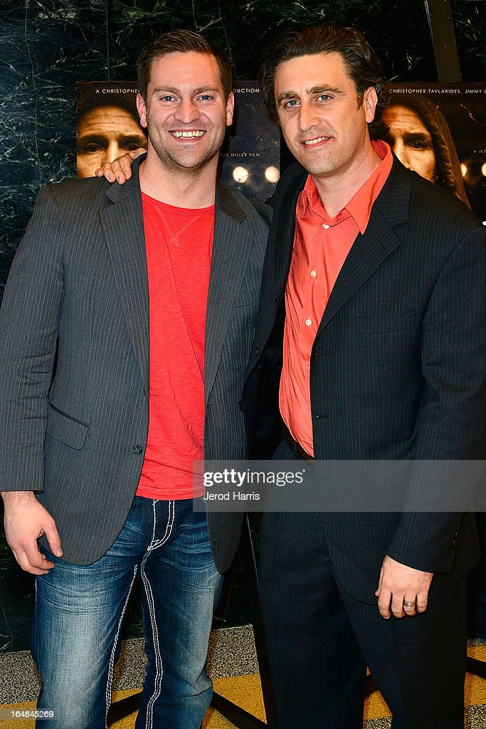 Filmmakers Adam Scorgie and Jesse James Miller arrive at the Los Angeles premiere of 'The Good Son' at Linwood Dunn Theater at the Pickford Center for Motion Study on March 28, 2013 in Hollywood, California.