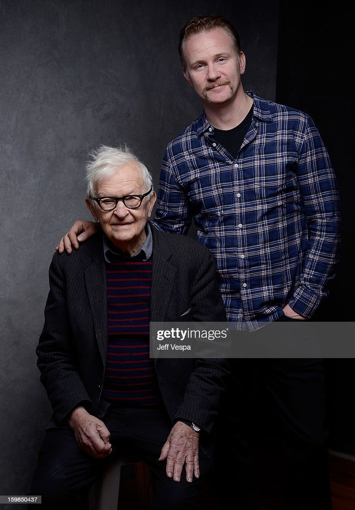 Filmmakers <a gi-track='captionPersonalityLinkClicked' href=/galleries/search?phrase=Albert+Maysles&family=editorial&specificpeople=683587 ng-click='$event.stopPropagation()'>Albert Maysles</a> (L) and <a gi-track='captionPersonalityLinkClicked' href=/galleries/search?phrase=Morgan+Spurlock&family=editorial&specificpeople=212719 ng-click='$event.stopPropagation()'>Morgan Spurlock</a> pose for a portrait during the 2013 Sundance Film Festival at the WireImage Portrait Studio at Village At The Lift on January 21 2013 in Park City, Utah.