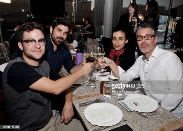 Filmmakers Alejandro Roca Rey Ariel Reuven Rosenstein Gan De Lange and Sebastien Maitre attend the 2017 Aspen Shortsfest Awards Dinner on April 9...