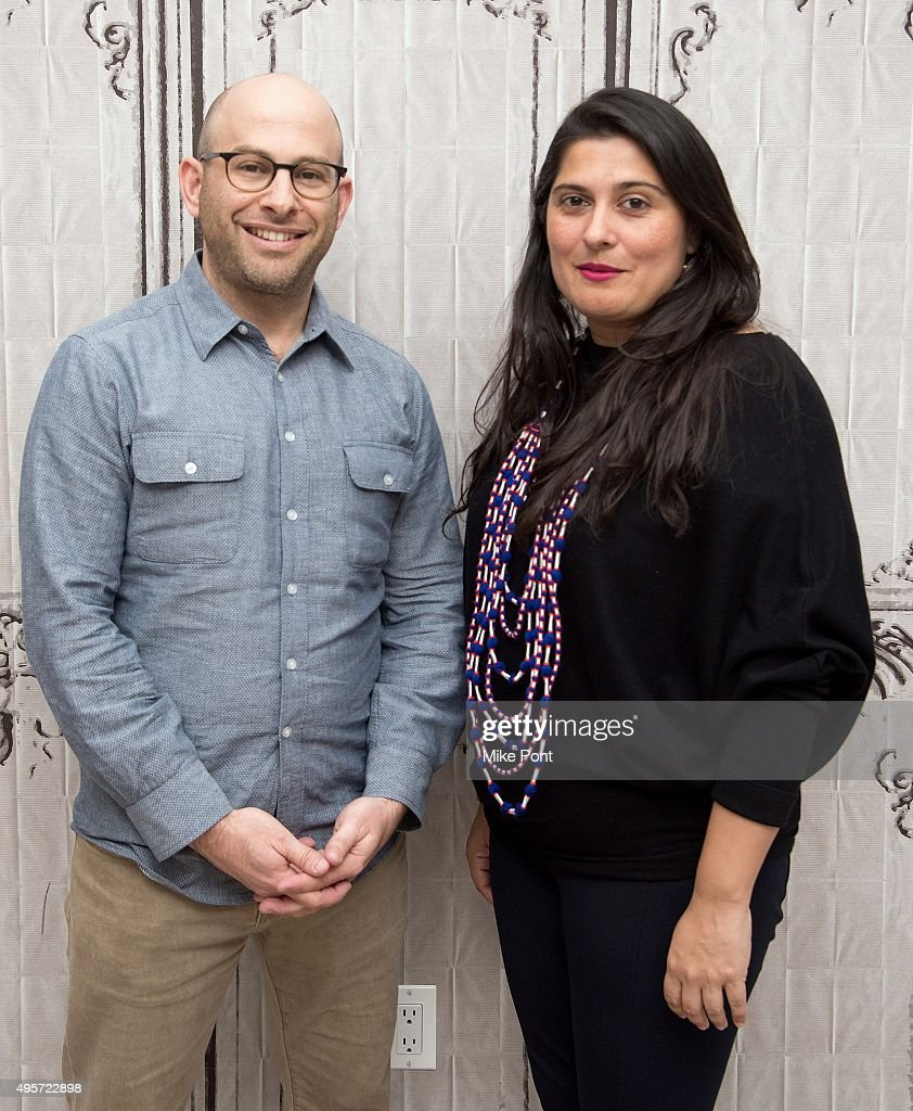 Filmmakers Andy Schocken and <a gi-track='captionPersonalityLinkClicked' href=/galleries/search?phrase=Sharmeen+Obaid-Chinoy&family=editorial&specificpeople=5581145 ng-click='$event.stopPropagation()'>Sharmeen Obaid-Chinoy</a> discuss the film 'Song of Lahore' at AOL Studios In New York on November 4, 2015 in New York City.