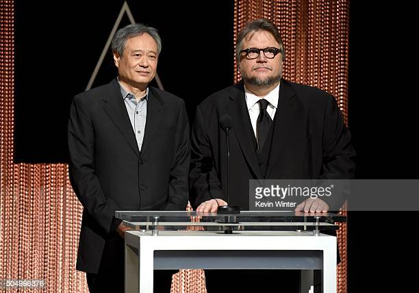 Filmmakers Ang Lee and Guillermo del Toro announce the nominees during the 88th Oscars Nominations Announcement at the Academy of Motion Picture Arts...
