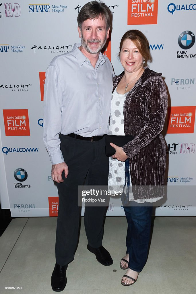 Filmmakers Anthony Powell (L) and Christine Powell arrive at San Diego Film Festival's tribute to honor Judd Apatow at Museum of Contemporary Art on October 3, 2013 in La Jolla, California.