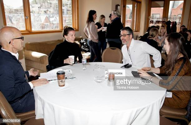 Filmmakers Antoneta Alamat Kusijanovic and Sebastien Maitre attend the 2017 Aspen Shortsfest filmmakers breakout sessions on April 7 2017 at Mountain...