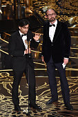 Filmmakers Asif Kapadia and James GayRees accept the Best Documentary Feature award for 'Amy' onstage during the 88th Annual Academy Awards at the...