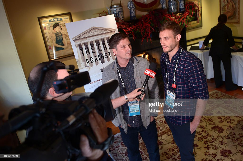 Filmmakers Ben Cotner and <a gi-track='captionPersonalityLinkClicked' href=/galleries/search?phrase=Ryan+White&family=editorial&specificpeople=225044 ng-click='$event.stopPropagation()'>Ryan White</a> attend the HBO & HRC Wedding Reception For The Case Against 8 on January 18, 2014 in Park City, Utah.