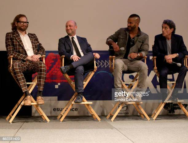Filmmakers Bryan Fuller Michael Green actors Ricky Whittle and Ian McShane speak on stage at the premiere of 'American Gods' during 2017 SXSW...