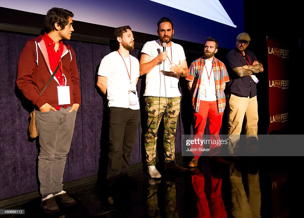 Filmmakers Carlos Lopez Estrada, Devon Gibbs, Tomas Whitmore, Brandon Ray and Pat Kondelis speak onstage at Eclectic Mix 1 during the 2014 Los Angeles Film Festival at Regal Cinemas L.A. Live on June 13, 2014 in Los Angeles, California.