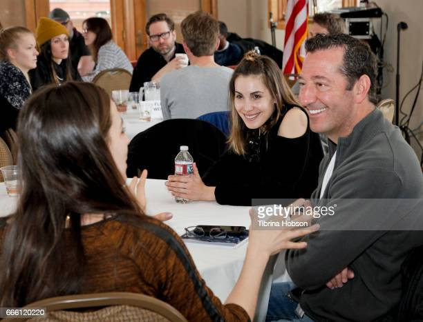 Filmmakers Carly Pope and Jay Cohen attend the 2017 Aspen Shortsfest filmmakers breakout sessions on April 7 2017 at Mountain Chalet in Aspen Colorado