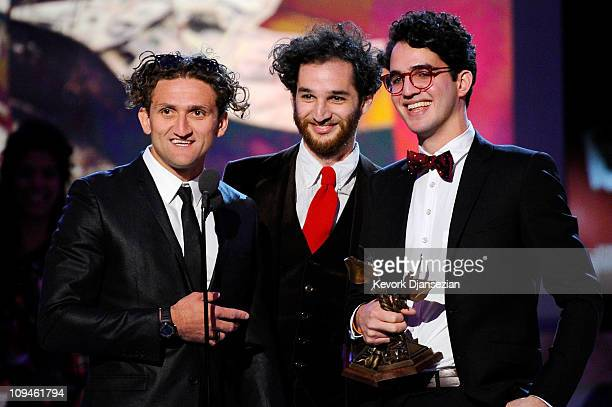 Filmmakers Casey Neistat Joshua Safdie and Benny Safdie winners of the John Cassavetes Award for 'Daddy Longlegs' accept award onstage during the...