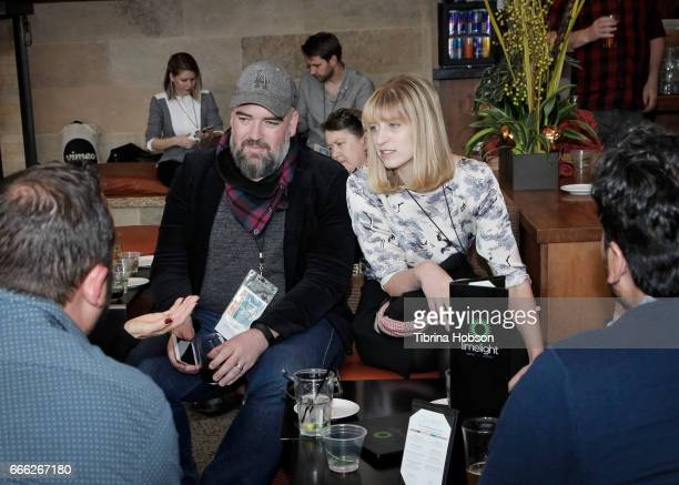 Filmmakers Charley Aldridge and Annabel Oakes attend the filmmakers happy hour at the 2017 Aspen Shortsfest on April 7 2017 at Mountain Chalet in...