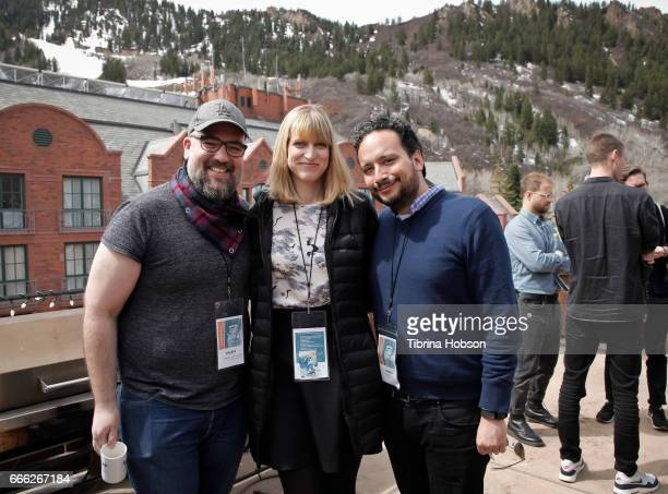 Filmmakers Charley Aldridge Annabel Oakes and Paul Valtierra attend the 2017 Aspen Shortsfest filmmakers breakout sessions on April 7 2017 at...