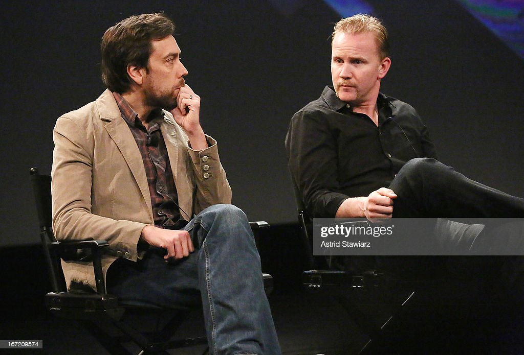 Filmmakers Dan Krauss and Morgan Spurlock attend the Tribeca Talks: The Business of Entertainment: Truth, Persuasion And Bias In Documentaries event at the 2013 Tribeca Film Festival on April 22, 2013 in New York City.