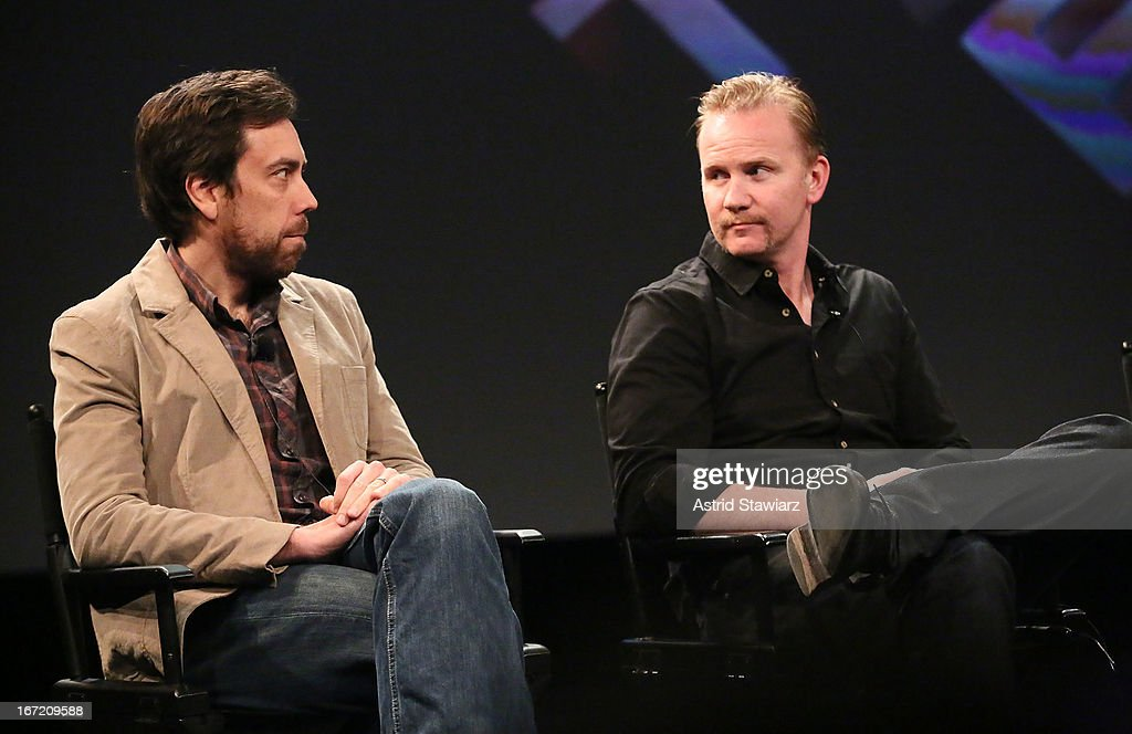 Filmmakers Dan Krauss and <a gi-track='captionPersonalityLinkClicked' href=/galleries/search?phrase=Morgan+Spurlock&family=editorial&specificpeople=212719 ng-click='$event.stopPropagation()'>Morgan Spurlock</a> attend the Tribeca Talks: The Business of Entertainment: Truth, Persuasion And Bias In Documentaries event at the 2013 Tribeca Film Festival on April 22, 2013 in New York City.