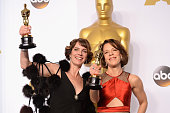 Filmmakers Dana Perry and Ellen Goosenberg Kent with the award for Best Documentary – Short Subject for 'Crisis Hotline Veterans Press 1' pose in the...