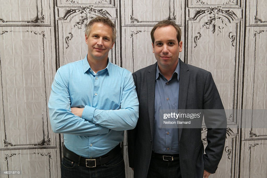 Filmmakers Daniel Junge (L) and Kief Davidson discuss their documentary 'A LEGO Brickumentary' during the AOL Build series at AOL Studios In New York on July 28, 2015 in New York City.