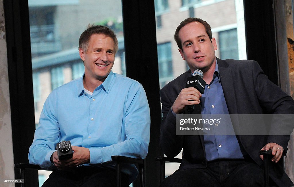 Filmmakers Daniel Junge (L) and Kief Davidson discuss their documentary during AOL Build Presents: 'A LEGO Brickumentary' at AOL Studios In New York on July 28, 2015 in New York City.