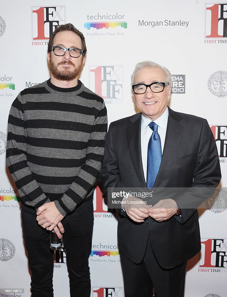 Filmmakers Darren Aronofsky (L) and Martin Scorsese attend the closing night awards during the 2013 First Time Fest at THE PLAYERS on March 4, 2013 in New York City.