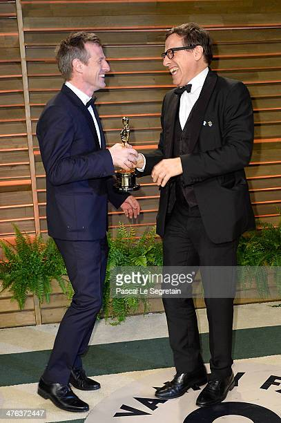 Filmmakers David O Russell and Spike Jonze attend the 2014 Vanity Fair Oscar Party hosted by Graydon Carter on March 2 2014 in West Hollywood...
