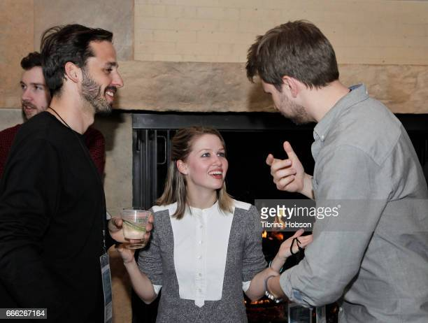 Filmmakers Fabio Friedli Megan Leonard and Frederic Hambalek attend the filmmakers happy hour at the 2017 Aspen Shortsfest on April 7 2017 at...