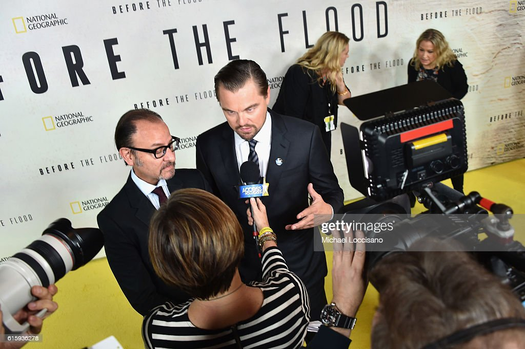 Filmmakers Fisher Stevens (L) and Leonardo DiCaprio attend the National Geographic Channel 'Before the Flood' screening at United Nations Headquarters on October 20, 2016 in New York City.