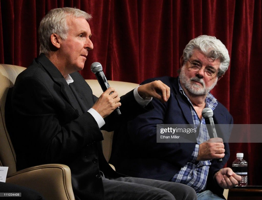 Filmmakers <a gi-track='captionPersonalityLinkClicked' href=/galleries/search?phrase=James+Cameron&family=editorial&specificpeople=206399 ng-click='$event.stopPropagation()'>James Cameron</a> (L) and <a gi-track='captionPersonalityLinkClicked' href=/galleries/search?phrase=George+Lucas&family=editorial&specificpeople=202500 ng-click='$event.stopPropagation()'>George Lucas</a> attend a digital filmmakers forum at Caesars Palace during CinemaCon, the official convention of the National Association of Theatre Owners, March 30, 2011 in Las Vegas, Nevada.