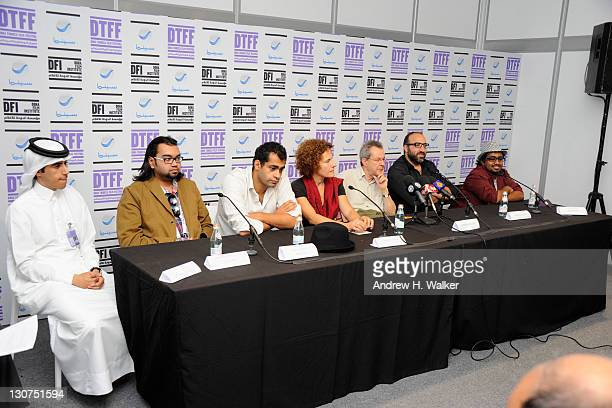 Filmmakers Jassim Al Romaihi Mohamed Rezwan Al Islam Namir Abdel Messeh Rania Stephan Merzak Allouache Ahmad Ghossein and Abdullaziz AlNujayam speak...