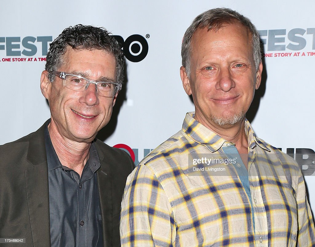 Filmmakers Jeffrey Friedman (L) and <a gi-track='captionPersonalityLinkClicked' href=/galleries/search?phrase=Rob+Epstein&family=editorial&specificpeople=2669345 ng-click='$event.stopPropagation()'>Rob Epstein</a> attend the 2013 Outfest Film Festival's amfAR panel at the DGA Theater on July 14, 2013 in Los Angeles, California.