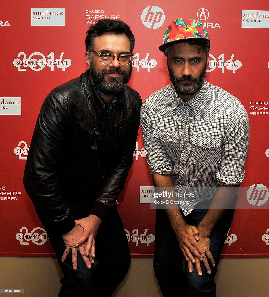 Filmmakers Jemaine Clement (L) and Taika Waititi attend the 'What We Do In The Shadows' preimiere at the Egyptian Theatre during the 2014 Sundance Film Festival on January 19, 2014 in Park City, Utah.