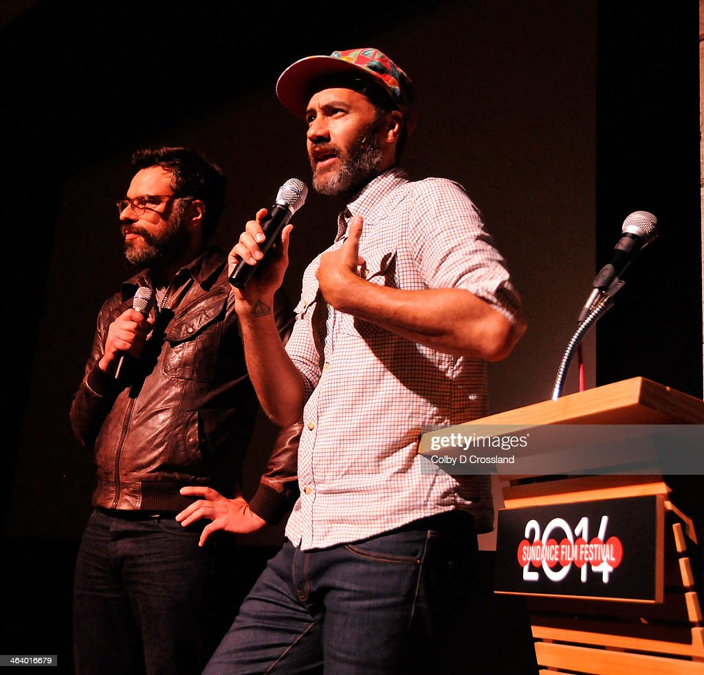 Filmmakers Jemaine Clement (L) and Taika Waititi speak onstage at 'What We Do In The Shadows' premiere at the Egyptian Theatre during the 2014 Sundance Film Festival on January 19, 2014 in Park City, Utah.