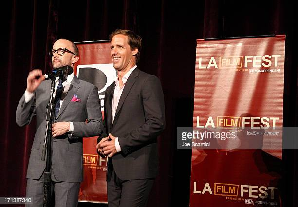 Filmmakers Jim Rash and Nat Faxon speak onstage at 'The Way Way Back' premiere sponsored by DIRECTV during the 2013 Los Angeles Film Festival at...