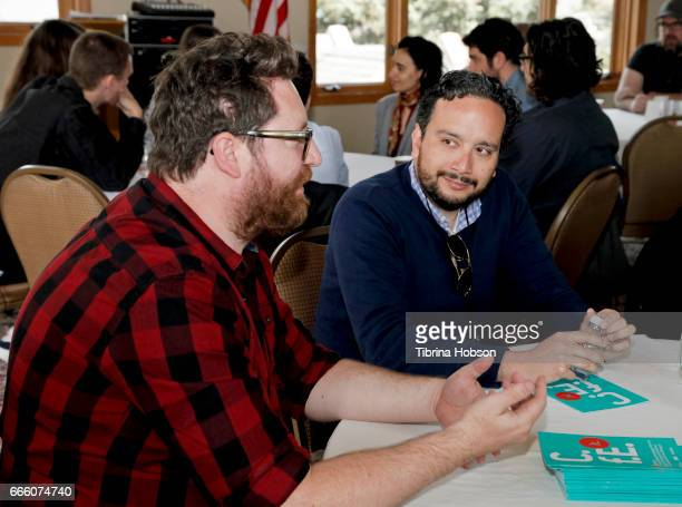 Filmmakers John Canciani and Paul Valtierra attend the 2017 Aspen Shortsfest filmmakers breakout sessions on April 7 2017 at Mountain Chalet in Aspen...