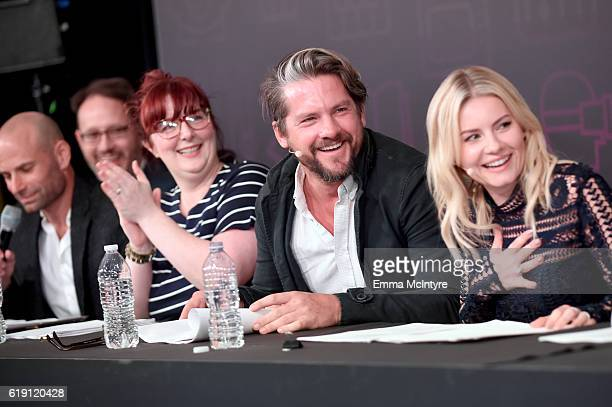 Filmmakers Josh Bycel Jackie Clarke with actors Zachary Knighton and Elisha Cuthbert speak onstage during the 'Happy Endings' table read at...